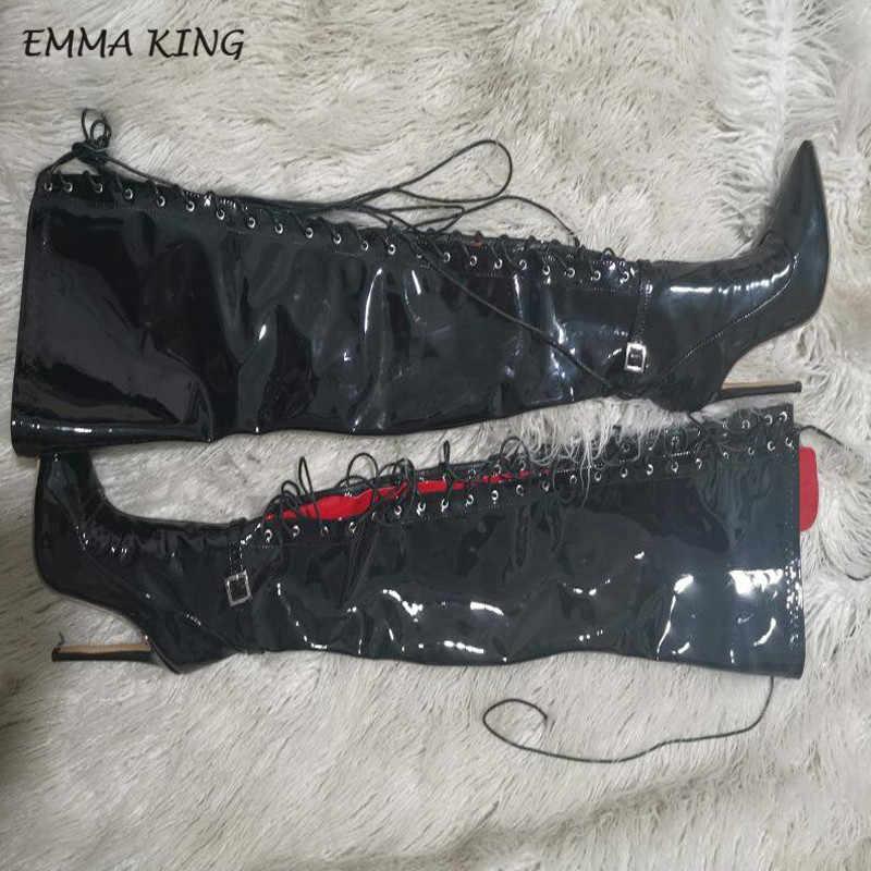 EMMA KRAL Diz Çizmeler Üzerinde Sivri burun Çapraz bağlı Yüksek Topuklu Uyluk Yüksek Seksi Kadın Sonbahar Kış bayan siyah Kadın Ayakkabı