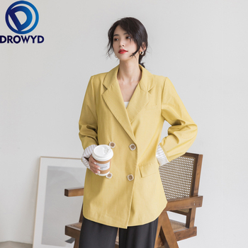 2020 Yellow Blazer Casual Women Tailored Coat  Lady Office Work Suit OL Styles Elegant 4XL Pockets Loose Blazer Jacket Chic Top damaizhang yellow 4xl