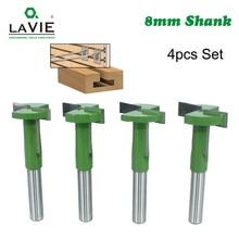 לביא 4PCS סט 8mm Shank T חריץ נתב קצת ישר קצה חטוט כרסום קאטר חיתוך עץ נגרות ידית MC02089