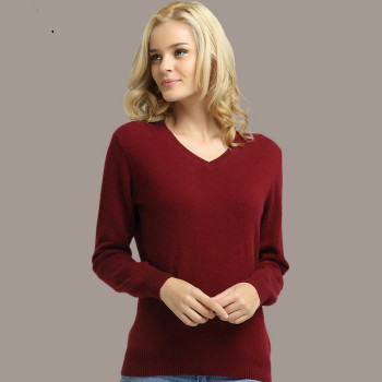 Long Sleeve V-neck Knitted Cashmere Sweater 8