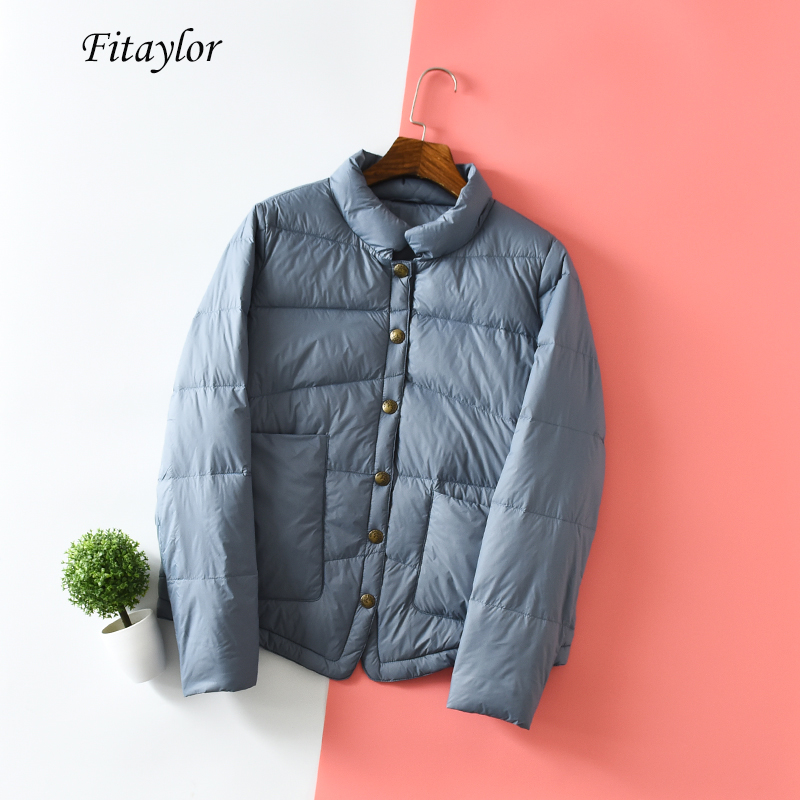 Fitaylor Winter Women Stand Collar Ultra Light Down Jackets Loose 90% White Duck Down Parka Vintage Single Breaste Down Outwear