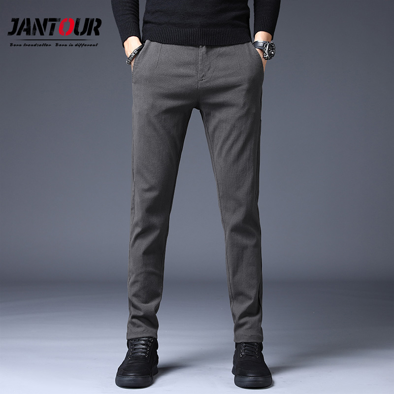 Men Trousers Clothing Business-Pants Classic Black Autumn Winter Casual Straight New