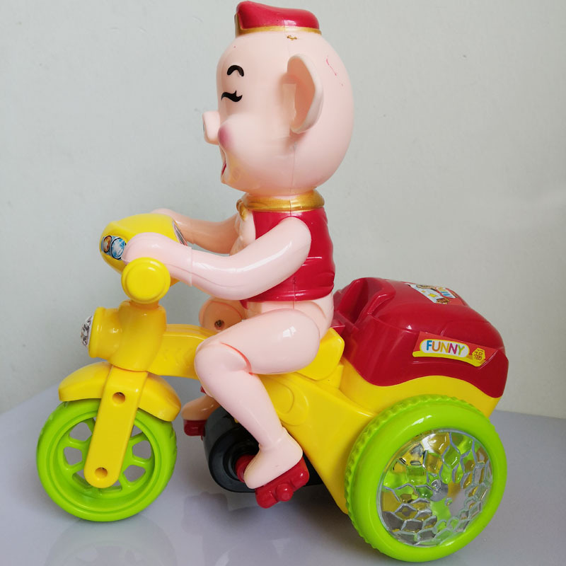Cartoon Toys Electric Tricycle Pig Stunt Motorcycle