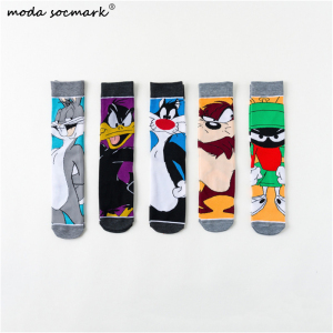 2019 Cartoon Rabbit Happy Socks Casual Hip Hop Creative Soft Comfortable Funny Novelty Men Cotton Calcetines Hombre Divertido