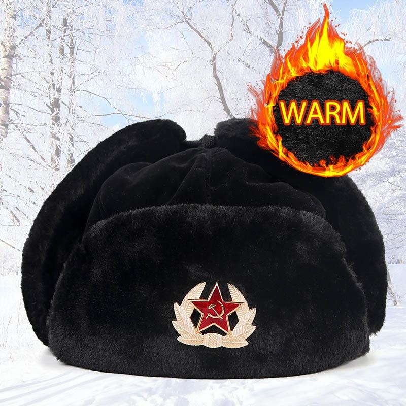 New Unisex 2019 Black Winter Russian Army Faux Fur Hat Ushanka Women Aviation Soviet Bomber Hat Men Gorro Ruso Hombre Snow Cap