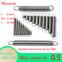 10Pcs Wire Dia 0.5mm 304 Stainless Steel Dual Hook Small Tension Spring Hardware Accessories Length 10mm-60mm