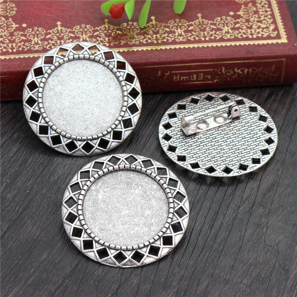 New Fashion  2pcs 25mm Inner Size Antique Silver Plated Brooch Pierced Style Cabochon Base Setting (A3-27)