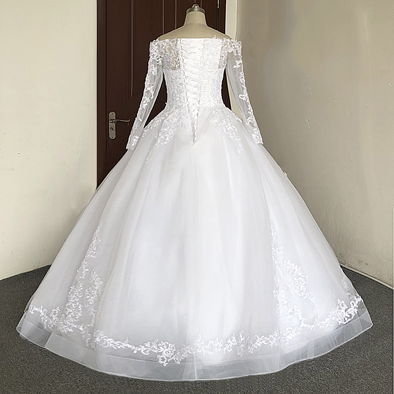 Image 4 - JIERUIZE White Lace Appliques Off The Shoulder Ball Gown Wedding Dresses Long Sleeves Princess Wedding Gowns robe mariage-in Wedding Dresses from Weddings & Events