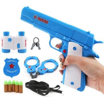 4 шт. классические детские мягкие пулевые игрушки пистолет с пластиковыми наручниками телескоп игрушка-Бейдж пистолет дети лучший подарок - Цвет: Небесно-голубой