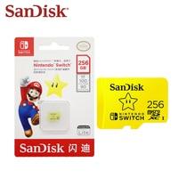 SanDisk 256GB MicroSD kart Nintendo anahtarı yetkili Mario tema 128G TF kart hafıza kartı 64G için yüksek hız oyun genişleme kartı