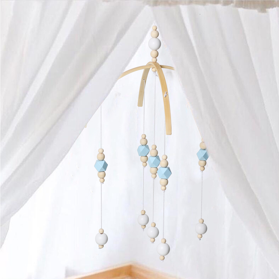 Baby Rattles Mobile Wooden Beads Wind Chimes Bell Toys For Kids Room Bed Hanging Decor Tent Decor Photography Props Gifts