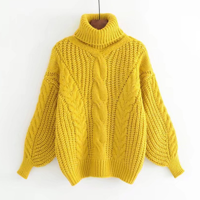 Turtleneck Sweater Women's Autumn Winter Pullover High Elasticity Knitted Casual Twist Warm Sweaters Long Sleeve Yellow Sweater