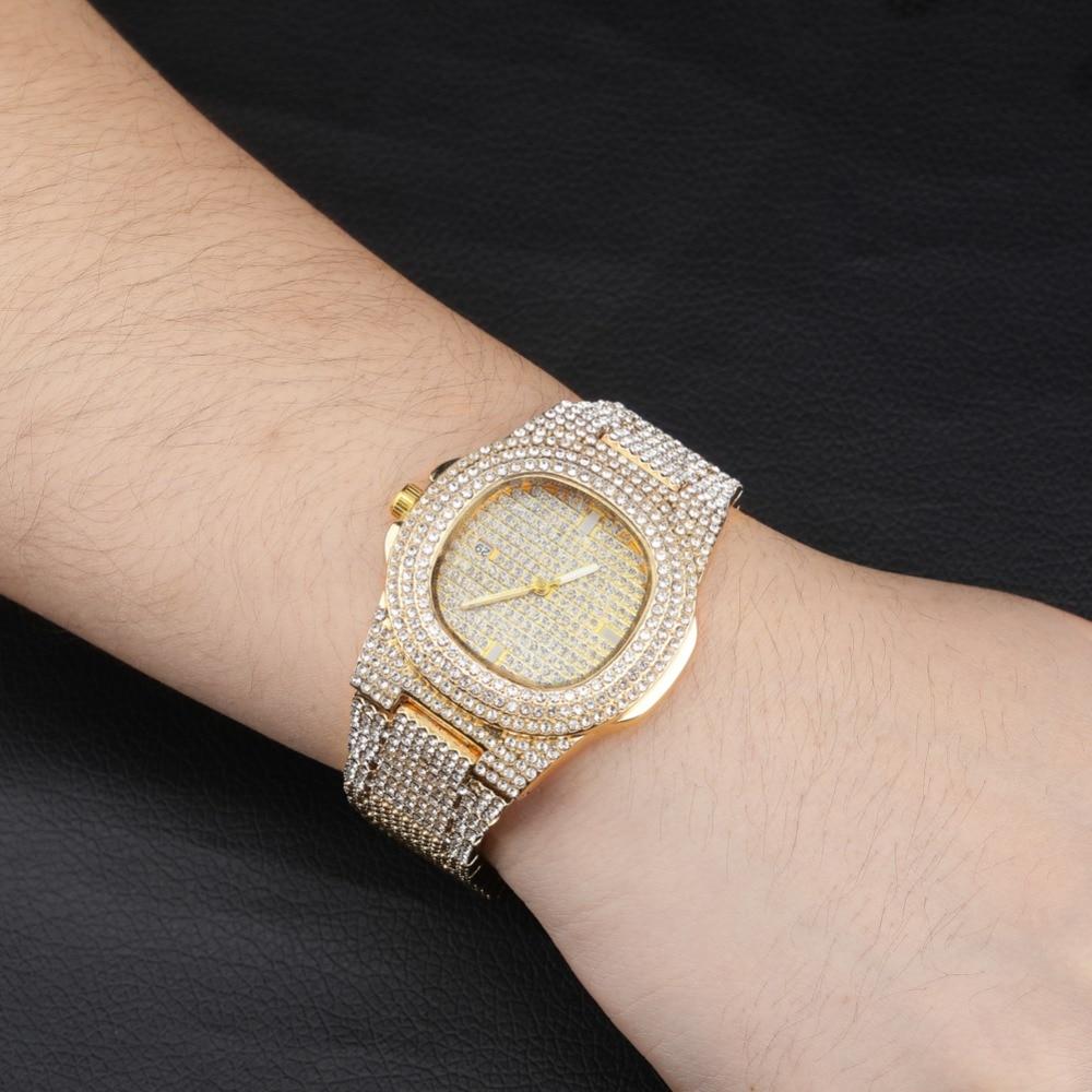 quartzo ouro hip hop relógios com micropave