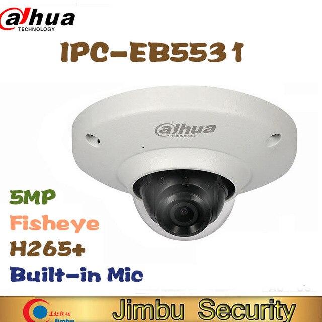 Dahua 5 мегапиксельная IP камера, панорамная сетевая камера «рыбий глаз» H.265, объектив 1,4 мм, встроенный микрофон, карта Micro SD, IP67, PoE, WDR