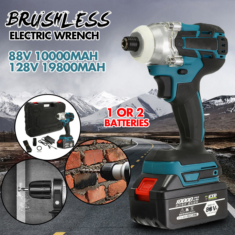 88V/128V Brushless Screwdriver Cordless Screwdriver Power Tools Handheld Drill Lithium Battery Charging Drill 1/2 Battery