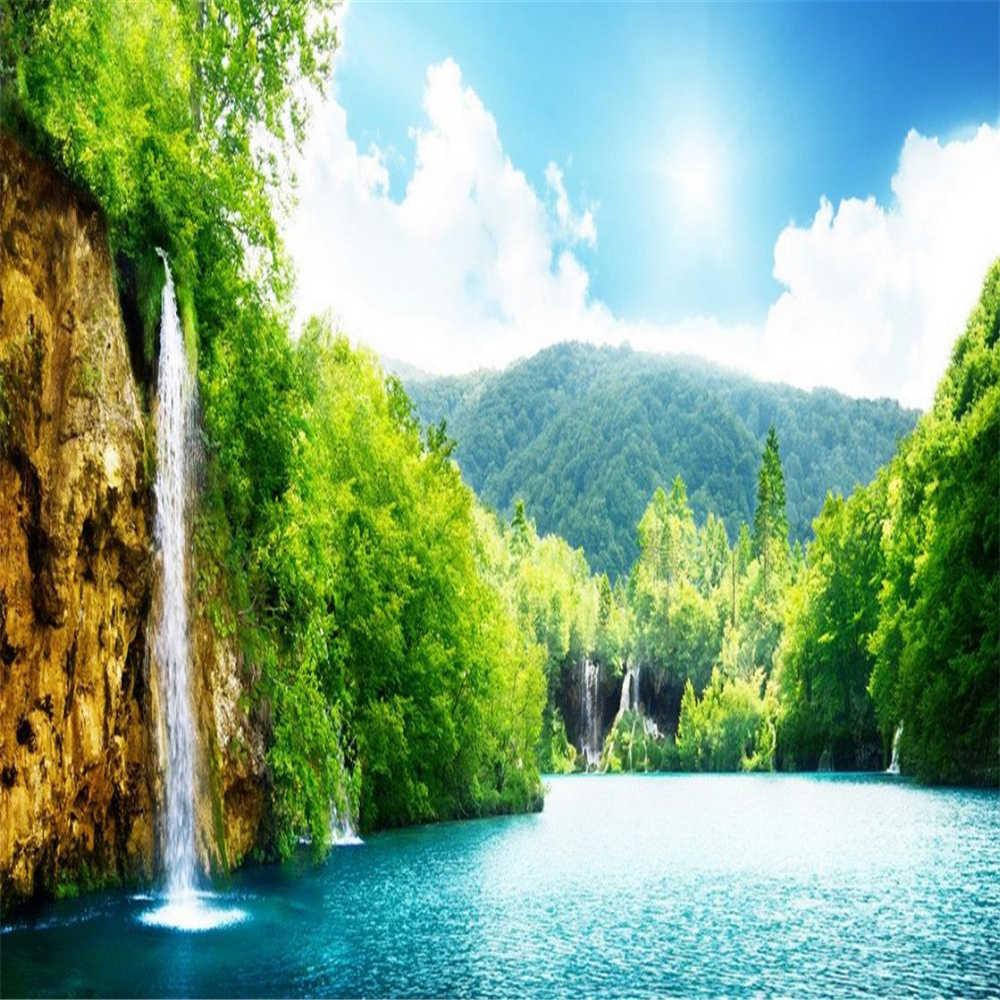 Green Air Kertas Dinding Wallpapes Alam Hijau Kecil Air Terjun Lanskap Hutan Danau Mural 3d Wallpaper.jpg q50