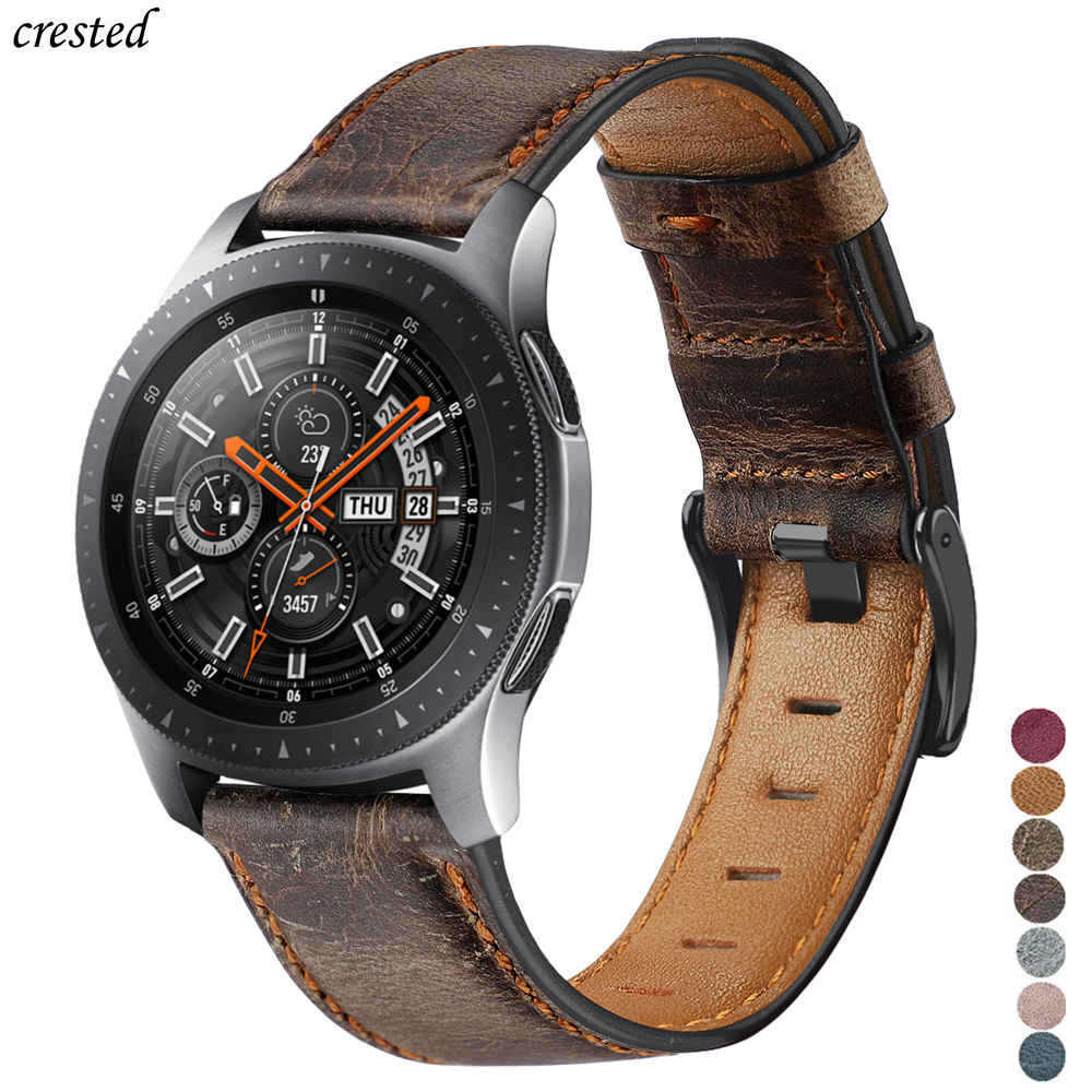 Genuine <font><b>Leather</b></font> band For <font><b>samsung</b></font> Galaxy watch <font><b>46mm</b></font> strap Gear S3 frontier bracelet 22mm watchband Huawei watch 2 gt strap 46 mm image