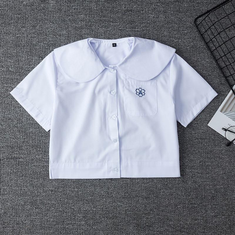 Japanese School Uniform For Girls Short Sleeve White Shirt School Dress Jk Sailor Suit Tops Cute Pocket Embroidery Work Uniforms