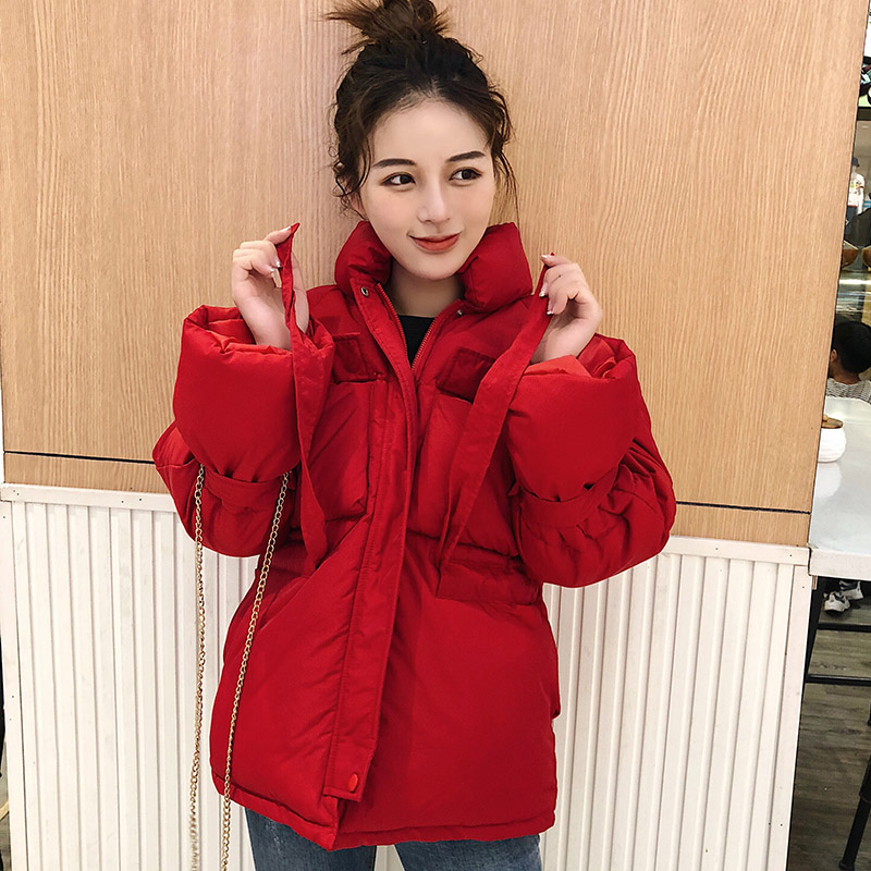 winter women short   parkas   jacket 2019 Fashion Thick warm adjustable waist jacket Casual solid sweet jackets for female