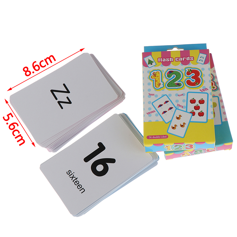 36pcs Flash Cards Learn English Word Number Baby Literacy Game Educational Card