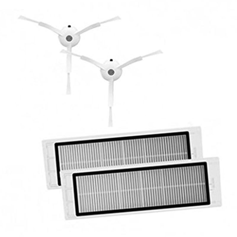 4 Pieces Suitable For Xiaomi Robot Vacuum Cleaner  Spare Framed Kits HEPA Filters & Side Brushes