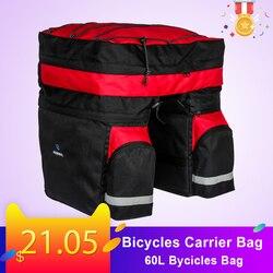 60L 3 w 1 wodoodporna rowerów torba z uchwytem tylny stojak bagażnik rowerowy bagażnika torba Pannier tylne siedzenie dwustronnie jazda na rowerze Bycicles torba Torby i sakwy rowerowe    -