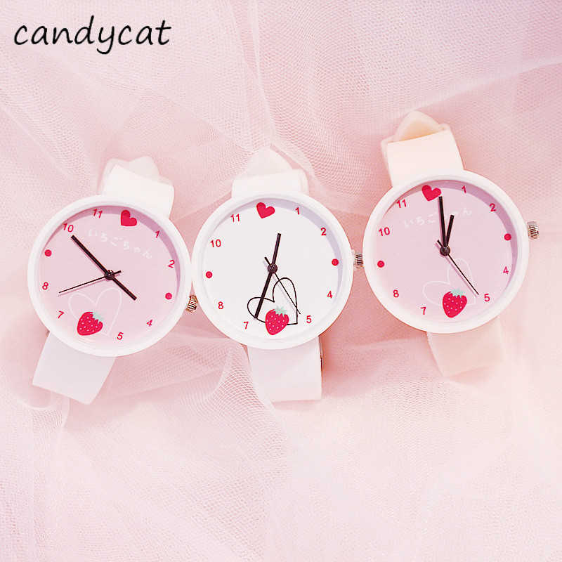CandyCat Strawberry Fairy Watch Children Cute Hipster Heart Girl Primary And Middle School Students Japanese Watch
