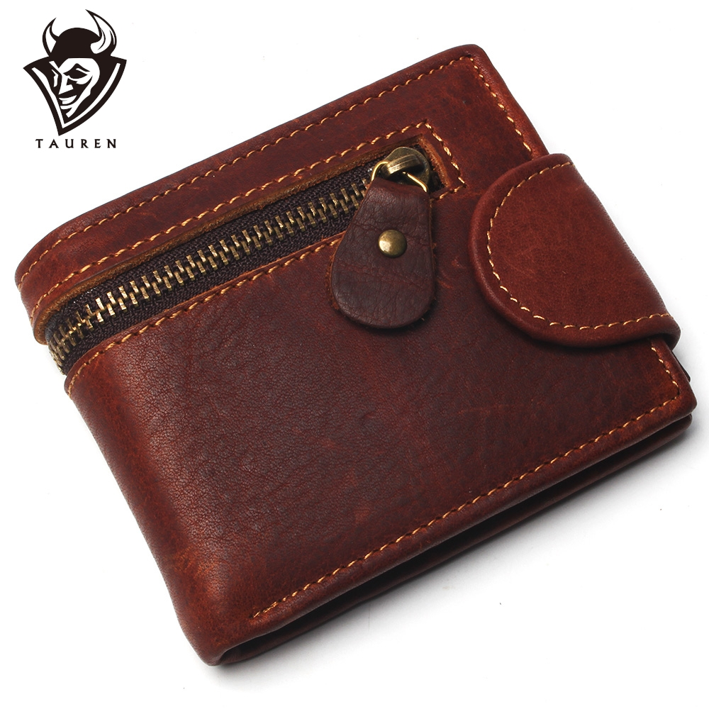 100% Genuine Leather Wallets Zipped Men Coin Purse Male Portomonee Small Fashion Man Card Holder Men Wallet
