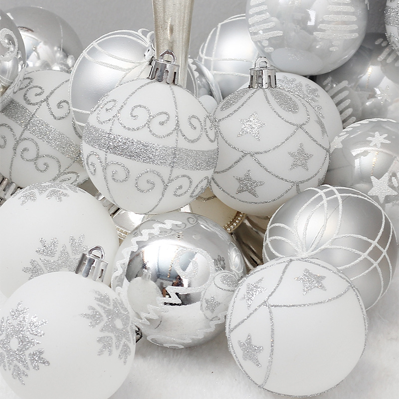 24pcs Christmas Balls 6cm Ornaments Shatterproof Christmas Tree Decorations Large Hanging PVC Ball Bauble For Xmas Home Party
