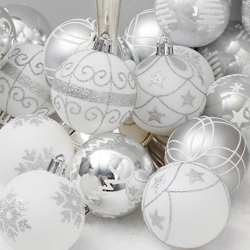 24pcs Christmas Balls 6cm Ornaments Shatterproof Christmas Tree Decorations Large Hanging PVC BallBaubleFor Xmas HomeParty