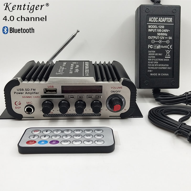 <font><b>4.0</b></font> Channel <font><b>Bluetooth</b></font> Stereo <font><b>HIFI</b></font> Amplifier Support 6.5mm Mic Home Theater With 12V5A Power & AV Cable USB SD FM Karaoke Amp image
