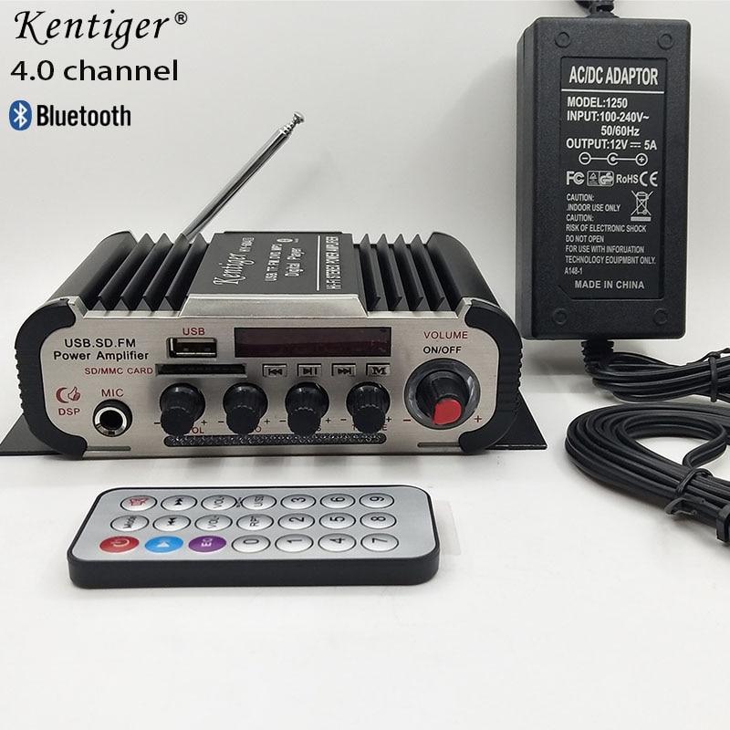 Стереофонический усилитель Bluetooth 4,0 каналов, Hi-Fi, поддержка 6,5 мм микрофона, домашний кинотеатр с 12V5A кабелем питания и AV, USB, SD, FM, караоке, Amp