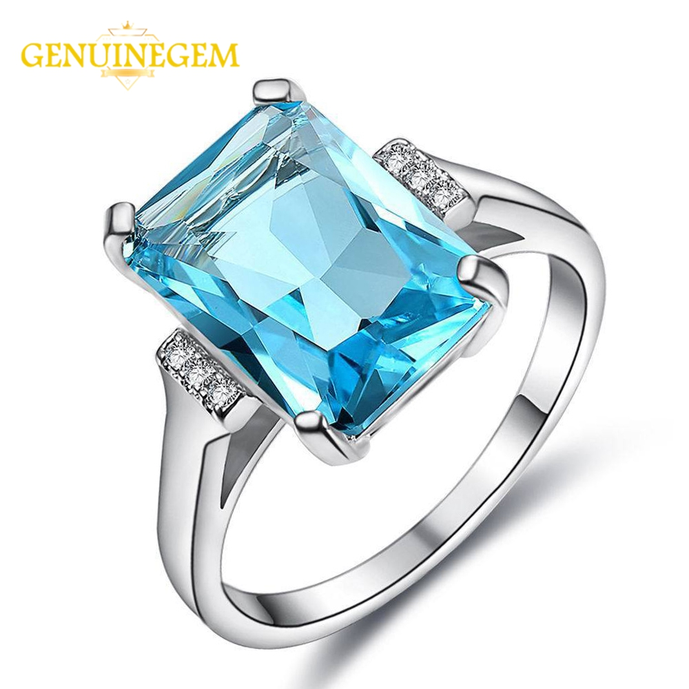 GENUINEGEM Fashion 10x14MM Blue Aquamarine Gemstone Women's Wedding Engagement Rings Wholesale Silver 925 Jewelry Ring For Women