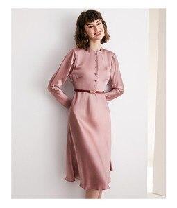 Image 2 - גבוהה כיתה אצטט סאטן שמלת אלגנטי הזדקנות ורוד
