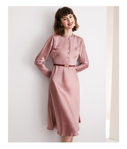 Image 2 - High grade acetate satin dress elegant aging Pink