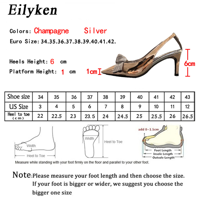 Eilyken 2020 New Women Pumps Shoes Crystal Bowknot High Heels Sandals Ladies Pumps Patent Leather Pointed Toe Pumps Shoes