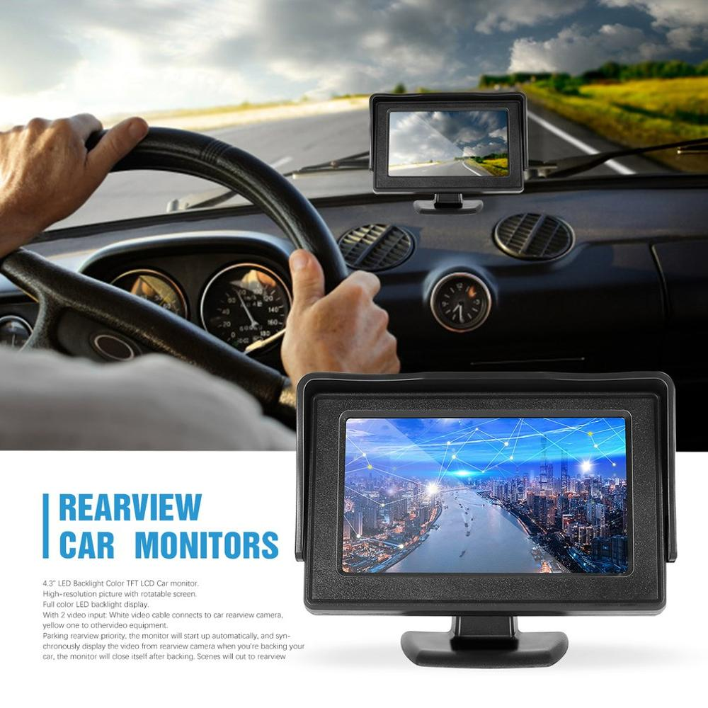 <font><b>4.3</b></font> <font><b>inch</b></font> <font><b>TFT</b></font> LCD Rearview Car Monitors for DVD GPS Reverse Backup Camera Vehicle Driving Accessories Classic Style image