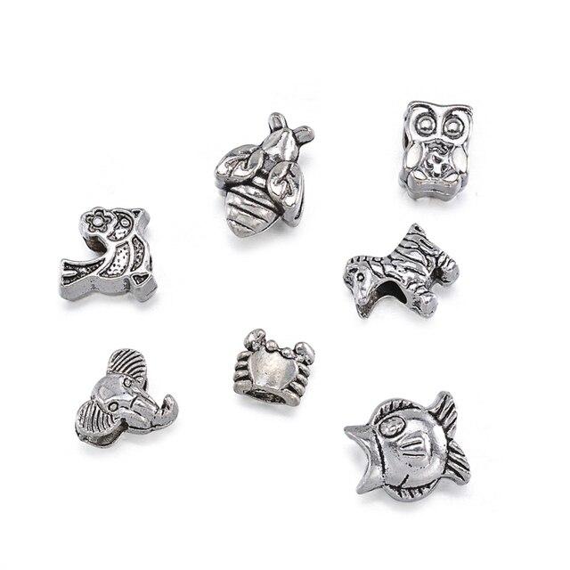 40 шт/компл антикварные серебряные бусины серии животных круглые