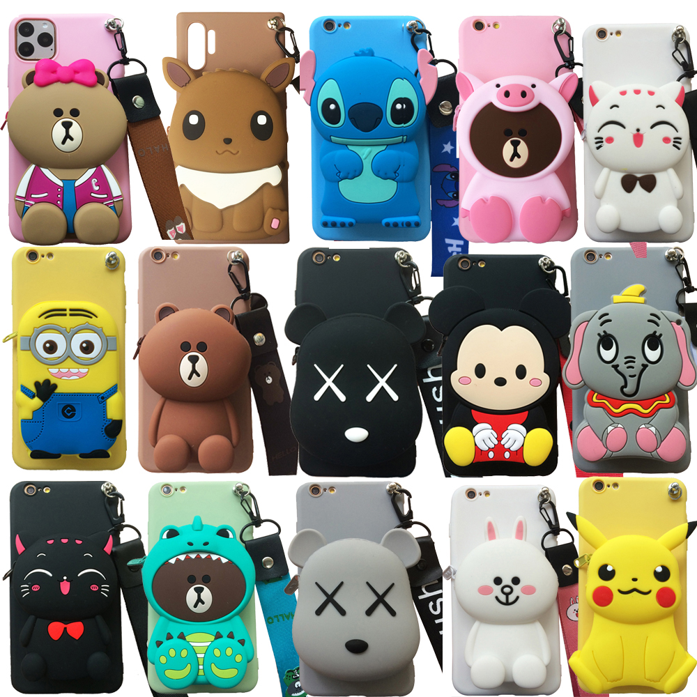 For <font><b>Huawei</b></font> Y5 Y6 <font><b>Y7</b></font> Y9 Prime (2018)(<font><b>2019</b></font>) 3D Cartoon Animal Soft Silicone Purse <font><b>Case</b></font> Wallet Phone <font><b>Cover</b></font> With Strap Shell Bag image