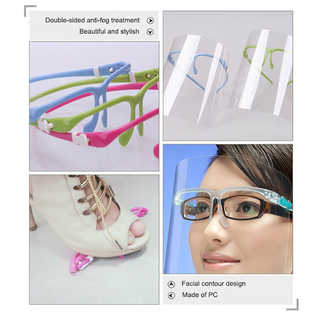 5Pieces Safety Transparent Clear Lens Anti-Fog Anti-Saliva Face Shield Eye Face Protection Cover Mask Health Guard 1