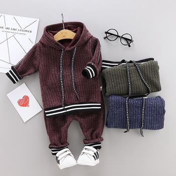 Ubrania dla dzieci jesienne zimowe zestawy ubrań dla chłopców z długim rękawem bluza z kapturem + spodnie strój sportowy dla dzieci ubrania dla maluchów chłopców stroje tanie i dobre opinie Aktywny O-neck Swetry Children Clothing COTTON spandex Unisex Pełna REGULAR Pasuje prawda na wymiar weź swój normalny rozmiar