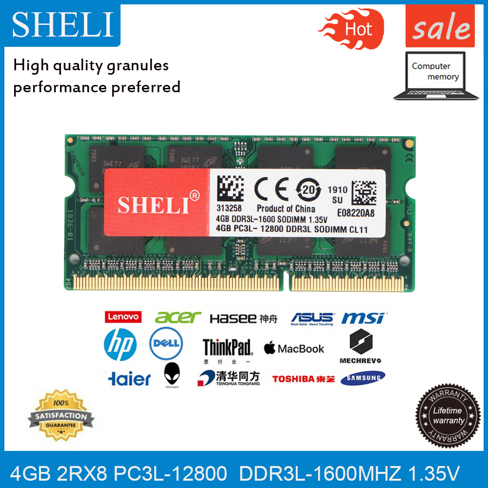SHELI <font><b>4GB</b></font> 8GB(2pcsX4GB)PC3L-12800S DDR3L 1600Mhz 204pin 1.35V CL11 <font><b>SODIMM</b></font> Notebook RAM LAPTOP Memory image