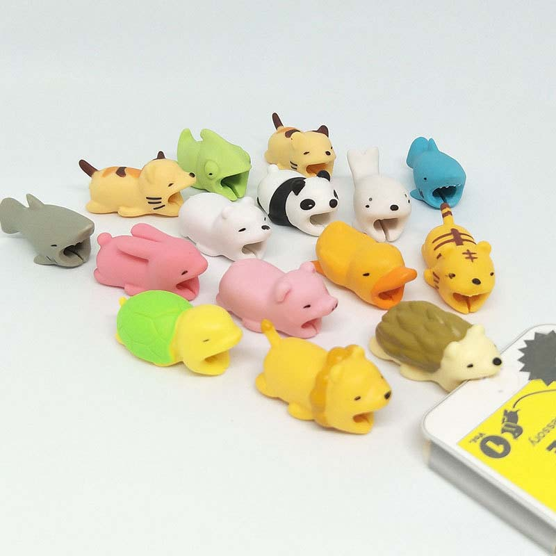Cartoons Animal Bite Cable Data Protector 20Colors Data Line Protection Dogs Cats Shaped Organizer