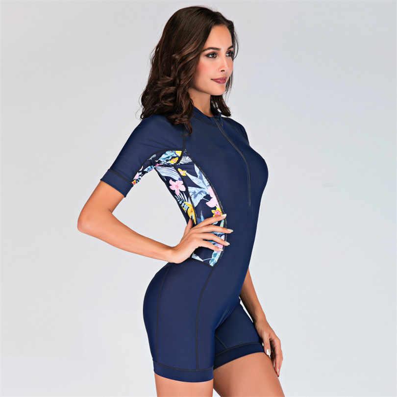 Женский купальник с защитой от УФ-лучей, Цельный купальник цветочный принт, защита от сыпи, короткий рукав, Быстросохнущий костюм для дайвинга, купальный костюм