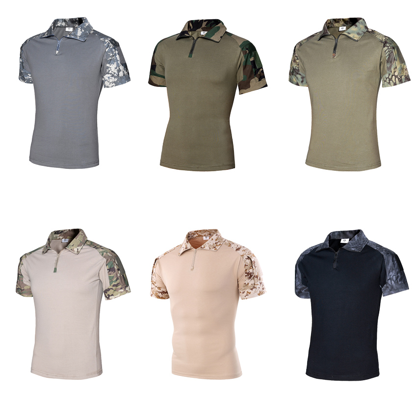 ACU CP Military Hunting Hiking Uniform Men Camouflage Combat Tactical Short Sleeve T-shirt Airsoft Absorb Sweat SWAT Tees