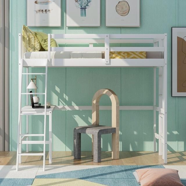 Solid Wooden Twin Loft Bed w/Desk & Ladder 2