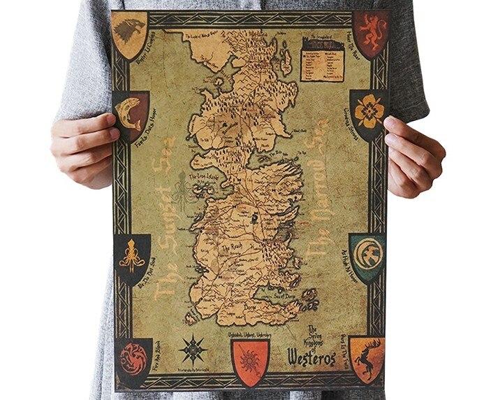 Game Of Thrones Westeros Map Vintage Kraft Paper Classic Movie Poster  School Garage Wall Decoration DIY Retro School Prints