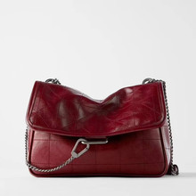 Luxury Handbags Rock Black Chain-Bag Messenger-Bag Single-Shoulder PU Soft for Woman