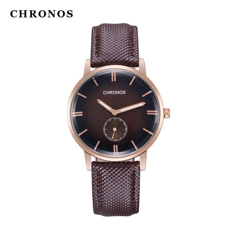 Mens' Watches Luxury Brand Leather Watch Men 2 Dial Casual Man Clock Waterproof Minimalism Quartz Wristwatch Relogio Masculino