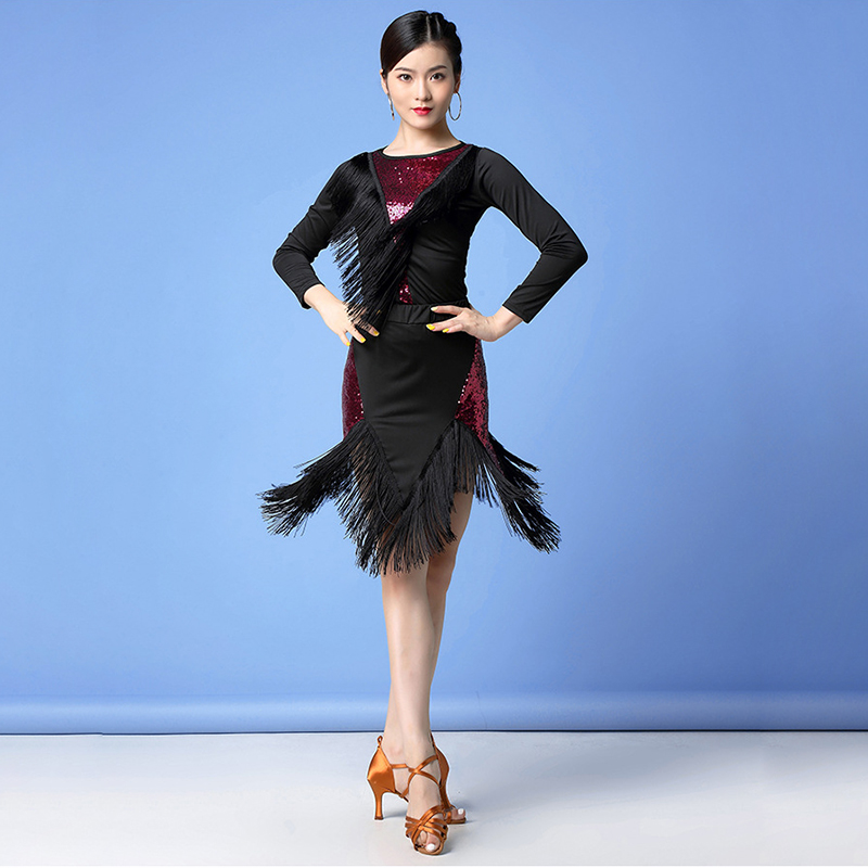 New 2019 Women Dance Clothes Salsa Samba 2 Pieces Set Fringes Dress Saxy Latin Costume Sequins Top And Skirt